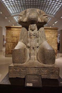 King Taharqa and the god Amun (as a ram), Ashmolean Museum, Oxford, England. 25th Dynasty, Kushite Ethiopian rule. C.670 BC. Egypt.