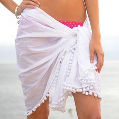 Pom Pom trim beach sarong