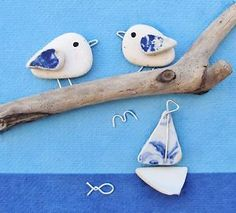 Handmade-Seagull-amp-Boat-Framed-Picture-Coastal-Beach-Pebble-Driftwood-Art-OOAK