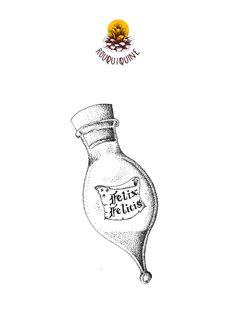 ROUQUIQUINE harry potter felix felicis, dotwork tattoo drawing