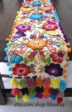 Decorative Pillow Peruvian Pillow covers Hand embroidered flowers 16 x 16 Sheep & alpaca wool handmade Set of 2 Cream Hand Embroidery Flowers, Hand Embroidery Designs, Embroidery Art, Embroidery Stitches, Embroidered Flowers, Poinsettia, Mexican Embroidery, Christmas Runner, Bed Runner