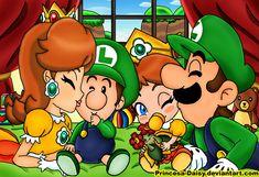 Luigi and Daisy - Our littles sweeties by Princesa-Daisy on DeviantArt Super Mario Bros, Super Mario Brothers, Deco Gamer, Luigi And Daisy, Mario Comics, Nintendo Princess, Mundo Dos Games, Video Game Art, Games