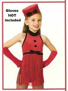 RED HOT Fringe Leotard & Hat Christmas Dance Costume Child XS,Large,X-Large #ArtStone