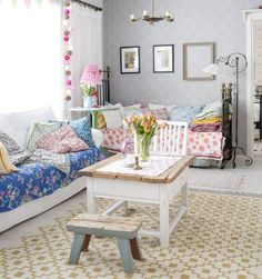 Layers of inviting quilts. My Living Room, Home And Living, Living Spaces, Cotton Ball Lights, Cosy Room, Pretty Bedroom, Vintage Interiors, Best Interior Design, Inspired Homes