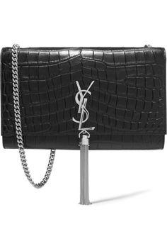 Saint Laurent Monogramme croc-effect leather shoulder bag