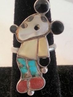 VINTAGE ZUNI SILVER, CORAL, MOP AND TURQUOISE INLAY MICKEY MOUSE RING