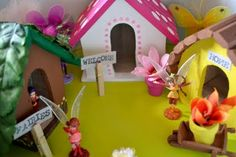 "DIY fairy village.  I need a daughter now to make this for.  {maybe I could do ""troll""  or leprechaun houses for the boys}"