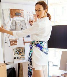 Alae silk scarf as a belt and Alae oversized ladies shirt. www.alaegroup.cz