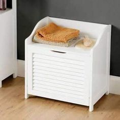 White Wood Shaker Style Storage Chest With Hinged Lid Price Uses For Storing Towels Etc Simple Elegant Design Flat Packed Very Easy