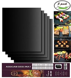 Aoocan Grill Mat Set of 5- 100% Non-stick BBQ Grill & Baking Mats - FDA-Approved, PFOA Free, Reusable and Easy to Clean - Works on Gas, Charcoal, Electric Grill and More - 15.75 x 13 Inch *** Want to know more, click on the image.