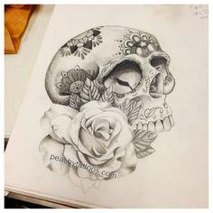 sugar skull and rose tattoo design