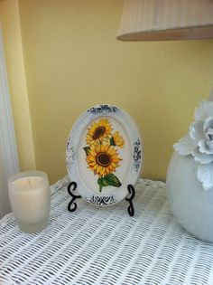 Sunflower Handmade oval plaster frame painting by GraceDecorations, $20.00