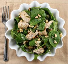 Turkey Spinach Salad with Chutney Vinaigrette:  mango chutney, peanut oil, worcestershire sauce, malt vinegar, spinach, cooked turkey, blue cheese, pinenuts