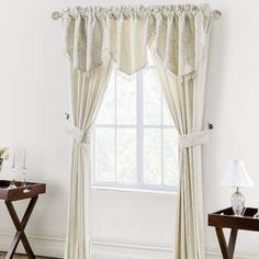 Add a touch of luxury to your bedroom with the opulent Waterford Linens Paloma Window Curtain Panel Pair. The exquisite panels are beautifully embellished with a velvet woven jacquard in a large scale damask motif in shades of ivory and cream. Drapery Panels, Window Panels, Drapes Curtains, Bedroom Curtains, Waterford Bedding, Double Shower Curtain, Valance Window Treatments, Rod Pocket Curtains, Curtains