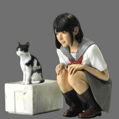 Unpainted 1/12 Resin Figure Japanese Girl With Cat Model Garage Kit Statue New #Unbranded Garage Kits, Japan Girl, Figure Model, Japanese Beauty, Box Art, Plastic Models, Statue, Cats, Model Kits