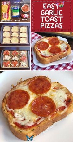 Quick & Easy Family Dinner Recipe: Garlic Toast Pizzas (kids love these!)  <br> Toast Pizza, Cheese Toast, Pizza Pizza, Kids Pizza, Pizza Snacks, Egg Toast, Lunch Snacks, Bagel Pizza, Pizza Cheese