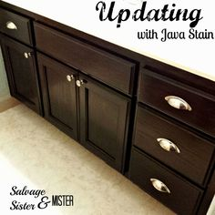 Changing Your Honey Cabinets Easily - Salvage Sister and Mister Turning a honey bathroom cabinet into a modern beauty. Easy and cheap DIY. Oak Bathroom Cabinets, Stained Kitchen Cabinets, Diy Cabinets, Cupboards, Home Renovation, Home Remodeling, Diy Bathroom, Bathroom Ideas, Bathroom Makeovers