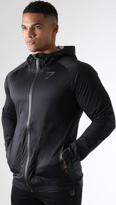 A fully waterproof jacket with fused seams for a complete coverage against inclement weather. Reflective detail and Gymshark logo offer a little extra visibility in low-light conditions. Along with an adjustable hood and full length zip, the Marathon jacket has laser cut pockets with secure zips and adjustable velcro wrist cuffs. Launching 26th January