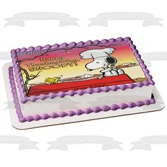 The Peanuts Happy Thanksgiving Snoopy Woodstock Pumpkin Pie Edible Cake Topper Image ABPID52718