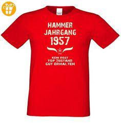 Geschenk zum 60. Geburtstag :-: GeschenkIdee Herren Geburtstags-Sprüche-T-Shirt mit Jahreszahl :-: Hammer Jahrgang 1957 :-: Jubiläumsgeschenk :-: Farbe: rot Gr: XXL (*Partner-Link)