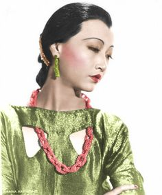 Anna May Wong--lime  green gown coral necklace  movie star  outfit scheme