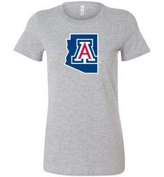 NCAA University of Arizona Wildcats U of A - BLUE State with internal Logo - Bella Ladies Favorite Tee - 15UA-1