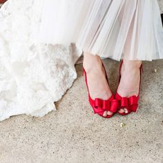 Red bridal shoes // photo by: Kristi Wright Photography // Shoes: Me Too