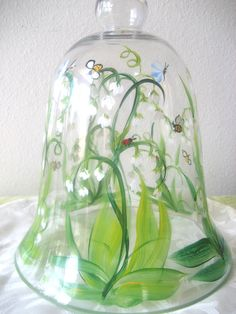 Glass bell jar or cloche, handpainted with lily of the valley, bees and butterflies,garden decor