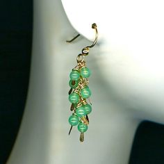 Earrings  Gold with Apple Green Chrysoprase Gemstones by WvWorks, $48.00