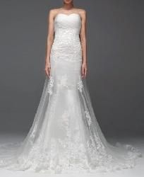 Off Shoulder Pleated Lace Fishtail Train Wedding Dress