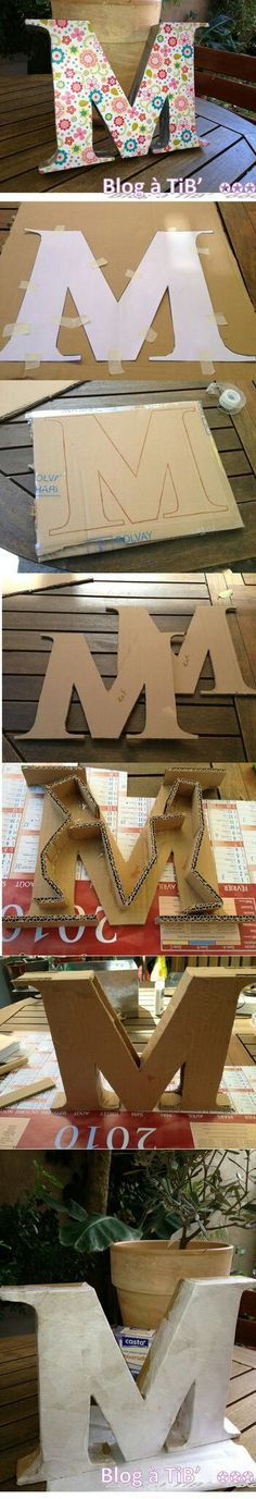 45 Ideas diy baby blocks cardboard ideas for 2019 Cardboard Letters, Diy Letters, Cardboard Crafts, Paper Crafts, Craft Projects, Projects To Try, Diy Bebe, Creation Deco, Diy Art