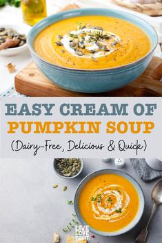 The Best Cream of Pumpkin Soup (Dairy-Free, Anti-Inflammatory & Quick to Prepare!) This cream of pumpkin soup is smooth and flavorful, and just may become a new favorite in your household. It's dairy free, but remains creamy, rich and delicious. Cream Of Pumpkin Soup, Vegan Pumpkin Soup, Roast Pumpkin, Easy Pumpkin Soup Recipe, Pumkin Soup, Canned Pumpkin Recipes, Gluten Free Pumpkin Bread, Dairy Free Cream, The Best