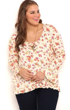 Plus Size Long Bell Sleeve Floral Top
