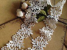 white lace fabric trim, venise lace trim in white, crochet lace trim, bridal lace trim