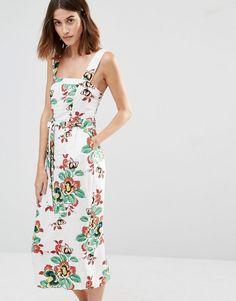 Image 1 ofWarehouse Floral Tie Waist Midi Dress