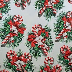 Vintage Christmas Wrapping Paper ~ Beautiful Candy Canes and Greenery