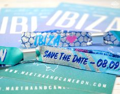 Cameron and Martha got in touch with Wedfest looking for us design and make them some Festival style Wedding Save the Date wristbands for their wedding in Ibiza. Save The Date Invitations, Save The Date Cards, Wedding Invitations, 40th Party Ideas, Party Themes, Festival Style, Festival Wedding, Ibiza Party, Ibiza Wedding
