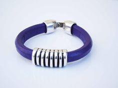 Sales & orders: 4me.bijuteria@gmail.com    Violet leather bracelet with tube | Refª PRT001 - 10€