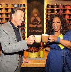 Gettin my chai on at Teavana in NYC with Howard Schultz. Launch day at Starbucks too. #OprahChai