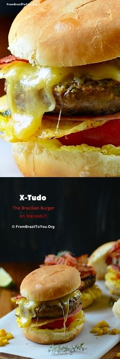 X-Tudo -- a super tall BURGER full of deliciousness such as Juicy beef patty, melted cheese, bacon, fried eggs, ham, corn, lettuce, tomato, and shoestring potatoes... #burger #beef #bacon #vegetables #ham #eggs