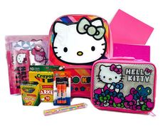 Hello Kitty 9 Piece Backpack Bundle. Hello Kitty Backpack. Hello Kitty Lunch Bag. Hello Kitty Stationary Set, Hello Kitty Pencils. Pink Folder, Pink Glitter Notebook. Crayola Crayons, Crayola Markers, Elmer's Glue Sticks.