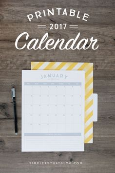 Simple, pretty and printer-friendly! 2017 calendars available in 6 different colors!