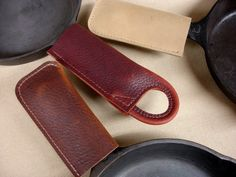 3 Short Leather Pan Handle Potholders...MXS $30.29