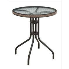 Minnetonka Outdoor Bistro Table 24'' W Round Metal Wicker Rattan Edge Glass Top  #AJHomesStudio #ModernContemporary