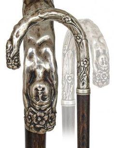 174. Silver Art Nouveau Cane-Ca. 1895-A cast class : Lot 174