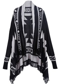 Loving long layers for fall with interesting prints!  The fringe detail on this one is awesome.