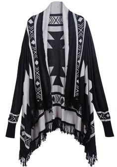 Black Long Sleeve Diamond Patterned Tassel Sweater - Sheinside.com