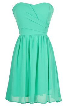 Simple and Sweet Chiffon Dress in Green  www.lilyboutique.com