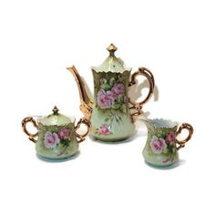 SALE Lefton Mid Century Coffee/Tea Pot, Creamer, Sugar Bowl with Lid,... ($96) ❤ liked on Polyvore featuring home, kitchen & dining, serveware, lefton, green sugar bowl and lidded sugar bowl