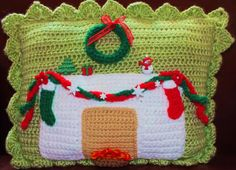 Here's My Free Christmas Pillow Pattern© Yarns & other materials used:                                                           Red Heart Yarns in                      Spearmint Green  Paddy Green  Read more at http://spotconnie.blogspot.com/2013/11/heres-my-free-christmas-pillow-pattern.html#zvyezYOQrW82QKSs.99
